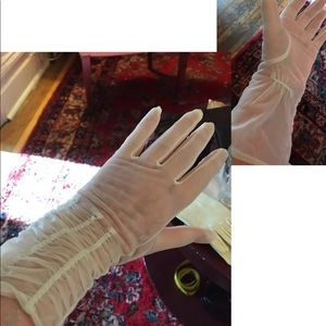 50's Sheer see through white nylon ruched gloves